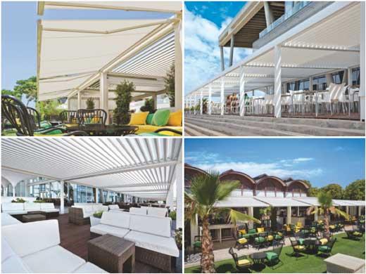Pérgolas bioclimáticas Saxun en terrazas de hoteles y restaurantes