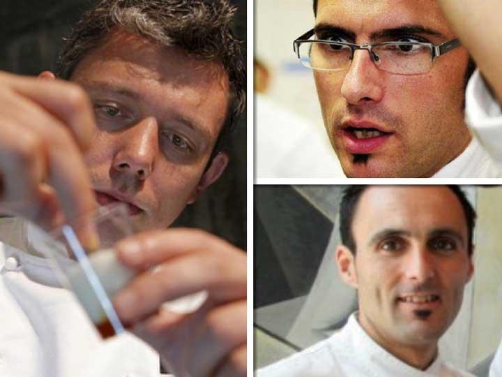 Tres grandes chefs vizcaínos en el jurado: Álvaro Garrido (Mina), a la izda; Beñat Hormaetxea (Jauregibarria), arriba, y Mikel Población (Etxanobe), abajo