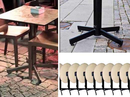 Las mesas StableTable estas mesas vienen con un tablero abatible, que permite almacenarlas fácilmente