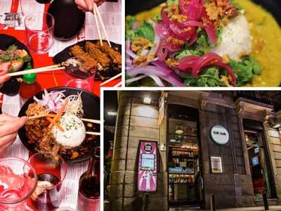 Exterior y platos de un restaurante Tuk Tuk
