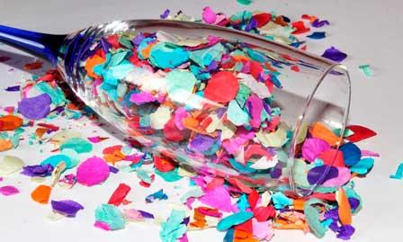 Copa con confetti