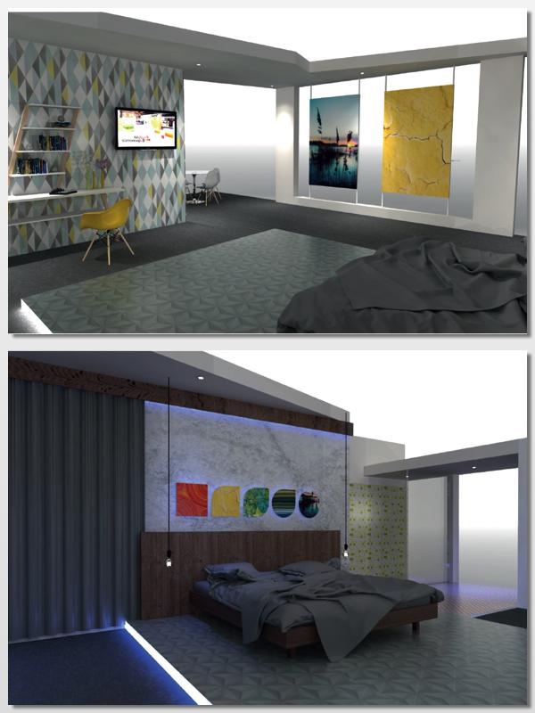 La habitación de hotel que Graphipag recreó en Hostelco 16