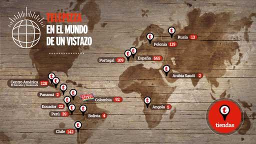 Este mapa muestra la presencia internacional de Telepizza