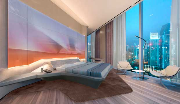 Habitación del futuro ME Dubai, diseñado por la fallecida Zaha Hadid