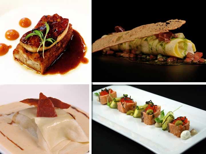 Manitas de cerdo, Canelón de brandada de bacalao, Ravioli Wanton y Tataki de salmon, de Innogourmet