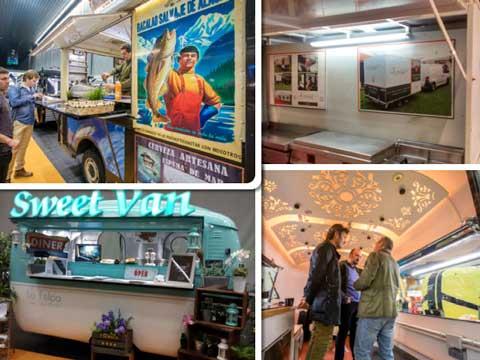 Food trucks de Irrintzi (bacalao y salmón de Alaska), cocina móvil de Mineko, caravana de Sweet Van y la oficina sobre ruedas de RoadBox