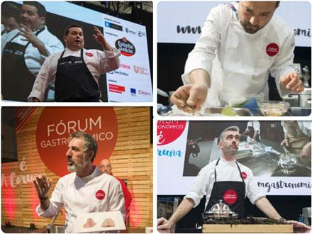 Algunos de los grandes chefs en el Forum Gastronómico A Coruña 2017: Marcos Morán, Marcos Cerqueiro, Pepe Solla y Alexandre Silva