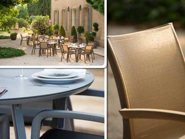 Mesas y sillas de exterior Sunset, de Grosfillex