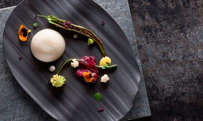 Un plato con vegetales del chef Masanti