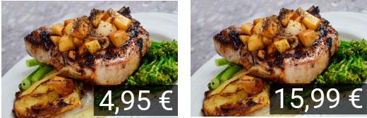 Dos platos similares con distinto precio