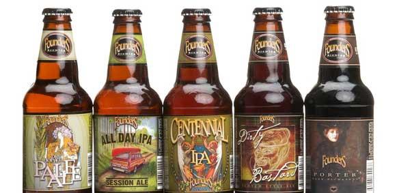 Algunas de las cervezas artesanas de Founders Brewing