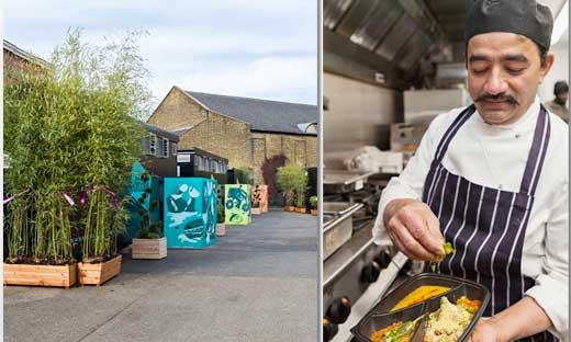 Una de las cocinas portátiles montadas por Deliveroo Editions en el sur de Londres