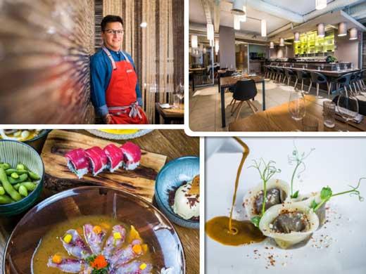 El chef Luis Arévalo; la elegante zona de barra de Kena; platos nikkei, y gyozas de rabo de toro