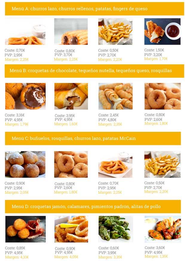 Menús y sus costes - QualityFry