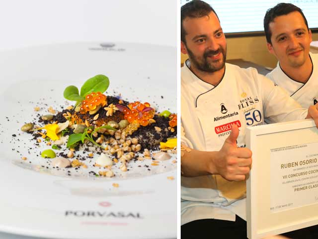 """Rubén Osorio, chef del restaurante Ergo, se proclamó vencedor de la semifinal de cocineros. En la foto, con su entrante """"Primeros brotes"""""""
