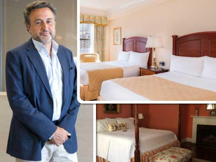 Félix Martí, director general de Resuinsa, y habitaciones de los hoteles Taj Boston (arriba) y Barksdale House Inn (abajo)