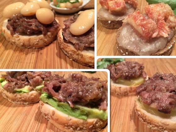 Cuatro pintxos con mini tostas de Ibepan y productos de Vacinbag