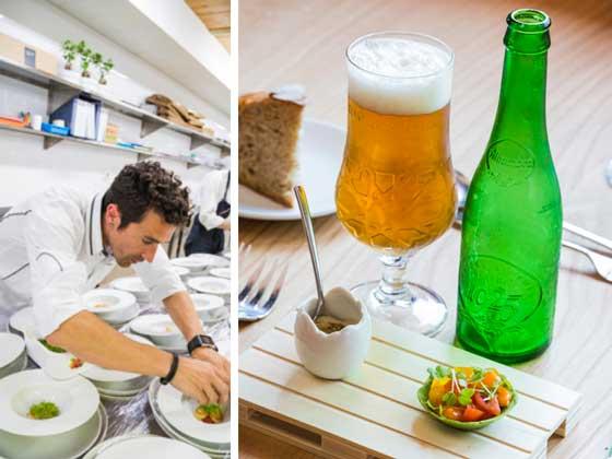 Eneko Atxa y una de sus creaciones para el maridaje con Cervezas Alhambra