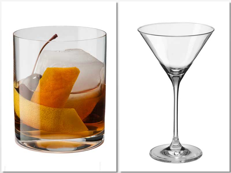 Vaso de whisky y copa cóctel de 210 ml