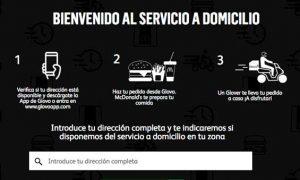 Home de la plataforma Delivery de McDonald´s España