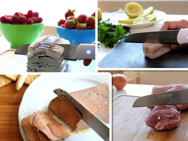 Cuchillo Frozen Cut cortando alimentos