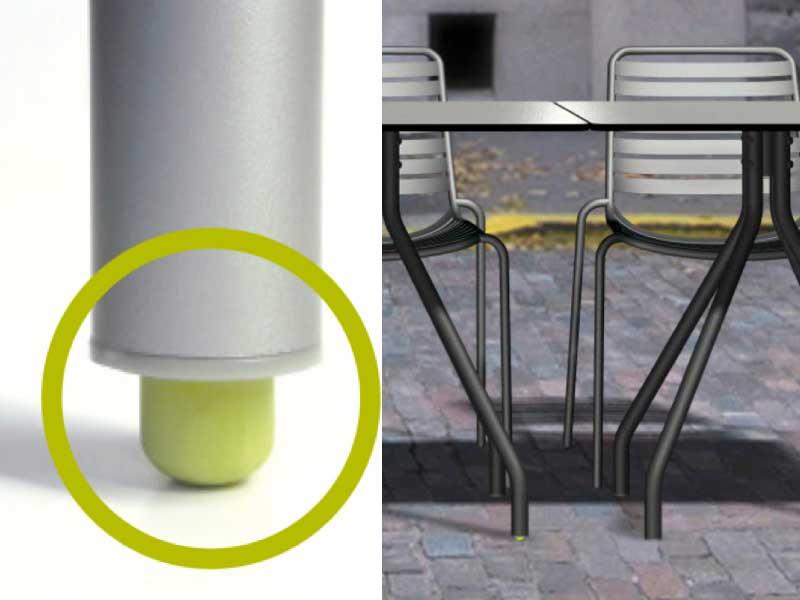 Las estructuras de mesa de la firma llevan incorporadas en sus patas el sistema estabilizador Es-table.es