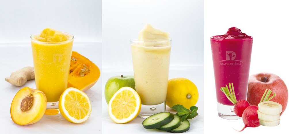 Tres bebidas Natural Drinks con un 100% de frutas y verduras