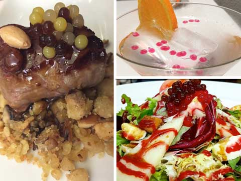 Perlas D'Esferas en platos de carne, ensaladas y postre