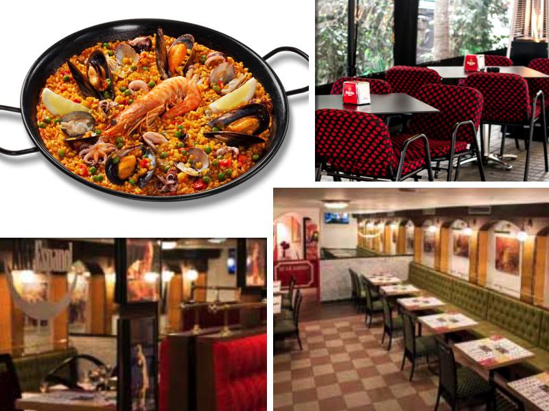 Paella, terraza y sala de un restaurante Artespañol