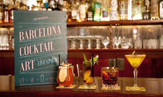 Cartel de Barcelona Cocktail Art en la coctelería Boadas de Barcelona