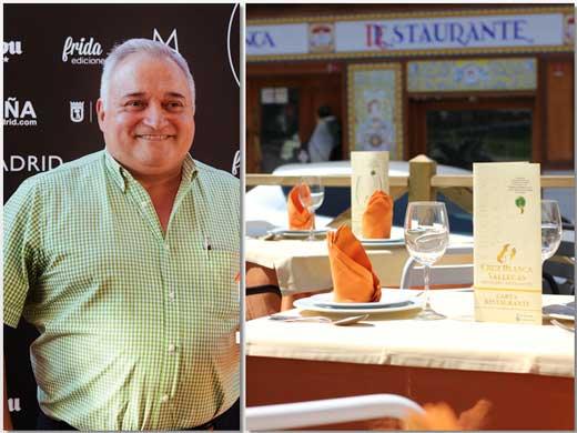 Antonio Cosmen y la terraza del restaurante Cruz Blanca Vallecas