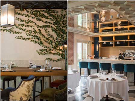 mesas altas y bajas alrededor de la barra de Lux Madrid