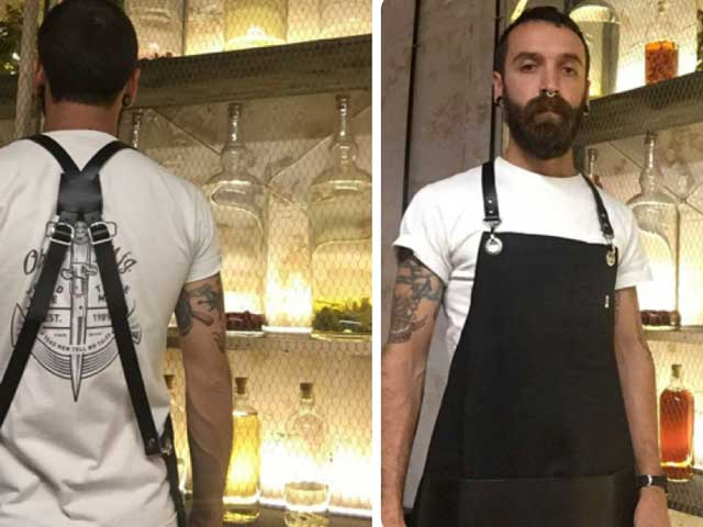 Delantal de bartender de Qooqer para las coctelerías Macera
