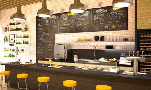 Freidora Fast Chef Eite compacta, sin humos ni olores, en un bar