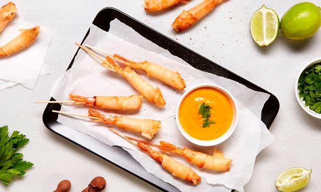 espirales de langostino y kimchi, de Koama