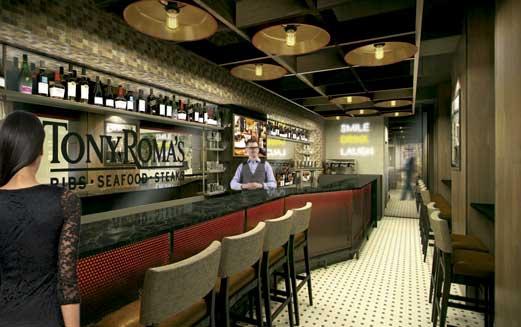 La barra del nuevo Tony Roma's en Gran Vía