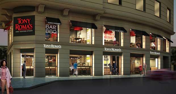El nuevo restaurante Tony Roma's en Madrid ocupa un singular chaflán en plena Gran Vía madrileña