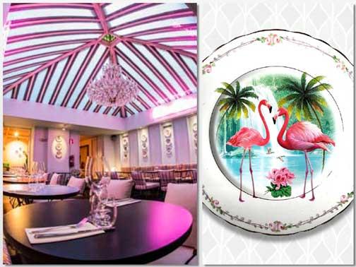 Detalle de una de las salas del restaurante El Hortera, y de la vajilla a tono con el local