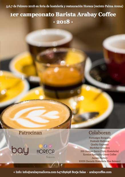 Cartel del Campeonato Barista Arabay Coffee, en la feria Horeca Baleares