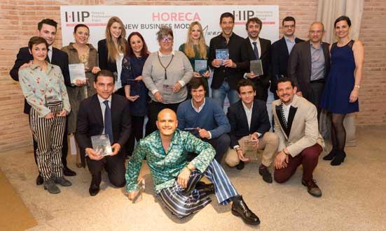 Foto de familia de ganadores y finalistas de los Horeca New Business Models Awards, otorgados en el marco de HIp 2018