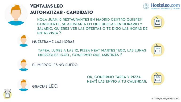 Chatbot Leo de Hostelera, conversación con candidato