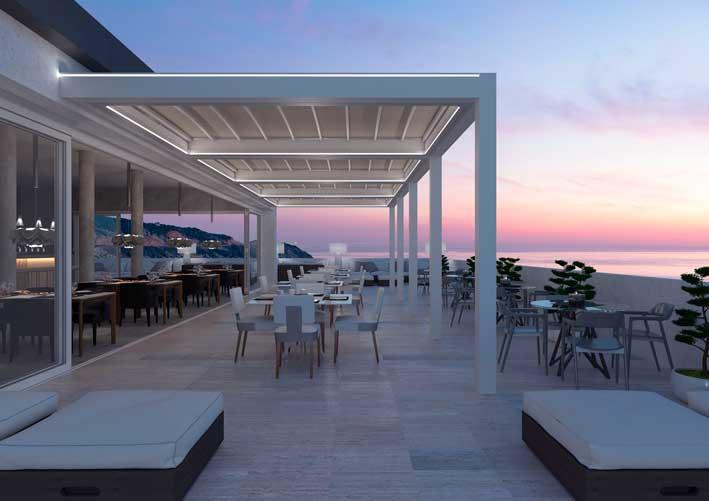 Pérgola Isola 3 en terraza, con iluminación integrada