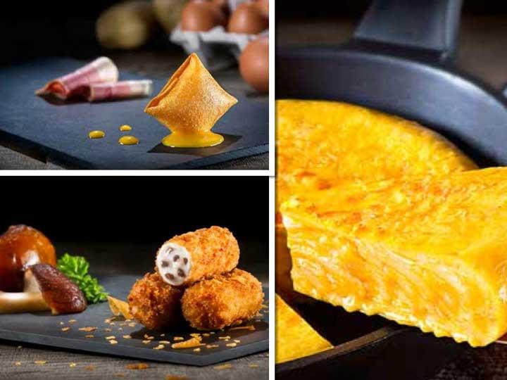 Pintxo de huevo frito, croquetas caseras y tortilla de patatas gourmet: tres productos de La Cocina de Senen para la hostelería de hoy