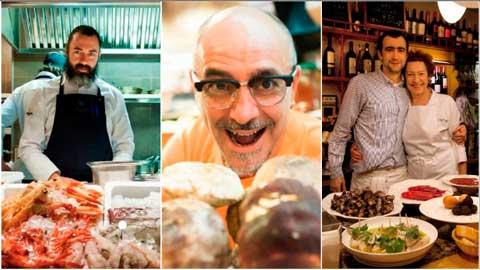 Los chefs de los mejores establecimientos gourmet casual de Europa según la lista OAD 2018: Rafa Zafa, Quim Martínez y Amaia Ortuzar e hijo