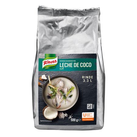 La Leche de coco Knorr se presenta deshidratada, en bolsa de 500 g