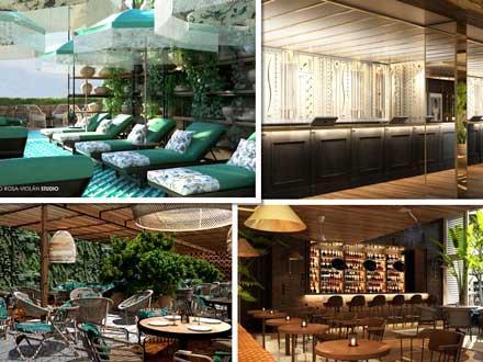 Imágenes de diferentes espacios del hotel Barcelona 1882