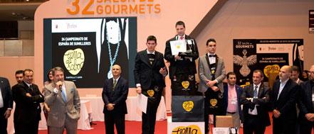 Podium del Campeonato Nacional de Sumilleres, en el resultó ganador el vizcaíno Jon Andoni Rementería