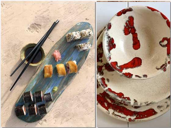 Bandeja para sushi, y tres piezas de la colección Red Velvet, todo de Katinaria