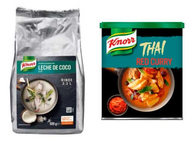 Leche de coco deshidratada y Salsa de curry rojo, de Knorr