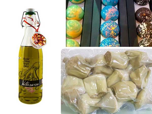 Los tres productos ganadores de los VII Premios Salón de Gourmets: el aceite para pulpo de Valdezarza, los bombones pintados a mano de Belenguer y los corazones de alcachofa de Vehortu